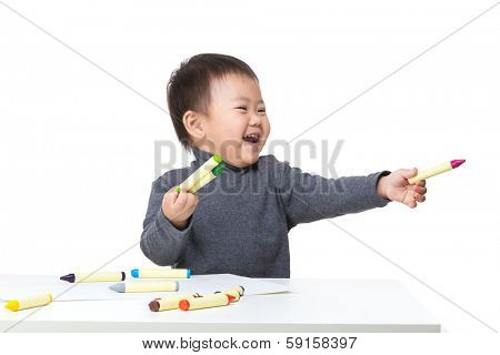 Litte boy excited for drawing