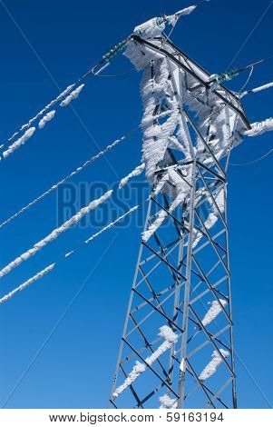snowy electric poles in navacerrada madrid spain Europa,
