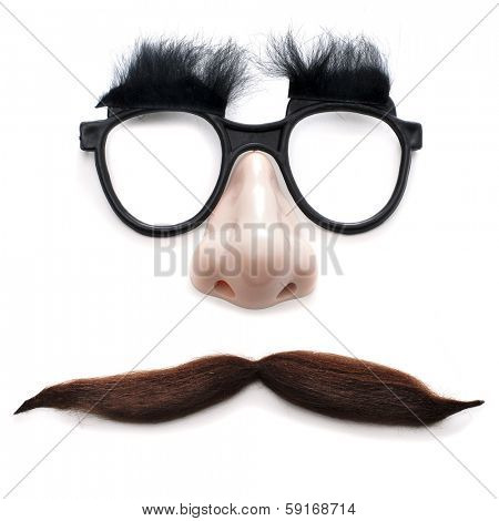 glasses, nose and mustache on a white background depicting a man face