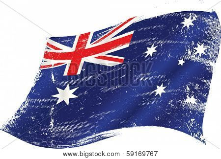 flag of Australia in the wind with a texture