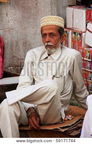 JODHPUR, INDIA - FEBRUARY 11: An unidentified man sits at Sadar Market on February 11, 2011 in Jodhp