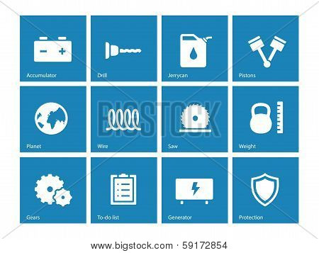 Tools icons on blue background.