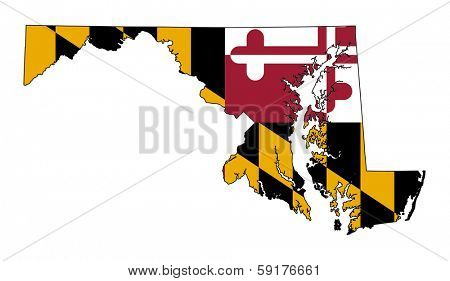State of Maryland flag map isolated on a white background, U.S.A.