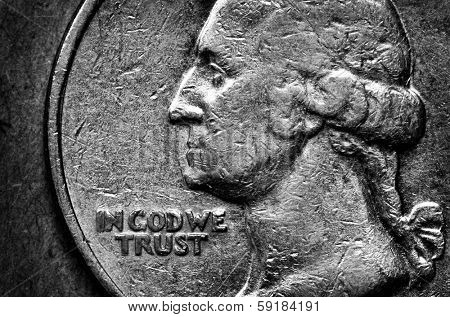Coin of Silver American Money with words In God We Trust poster