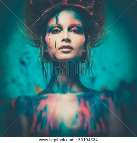 Young woman muse with creative body art and hairdo  poster