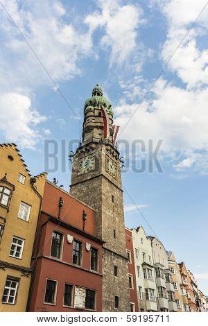 The City Tower In Innsbruck, Austria.
