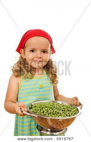 Little Girl With Lots Of Peas