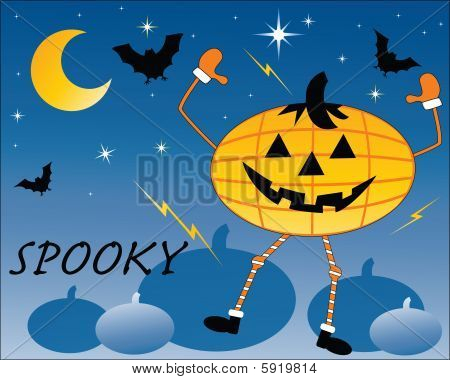 Dancing Pumpkin  With Bats In Pumpkin Patch  Spooky