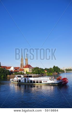Paddle Steamer Ship On Odra River In Wroclaw