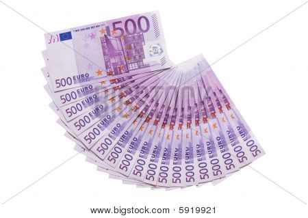 500 Euros Banknotes Fan Isolated