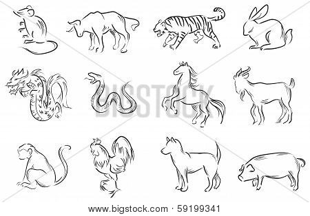 Professional Brush Painting Set Of Chinese Twelve Zodiac Signs (vector)