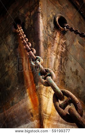 Prow Old Ship With Anchor Chain