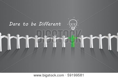 Symbol of uniqueness, ideas, different thinking, standing out of the crowd