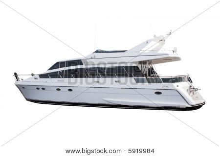 Medium Size White Luxury Yacht Isolated