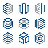 Hexagon shaped design elements 2. Abstract hexagonal vector symbols, blue and grey. poster