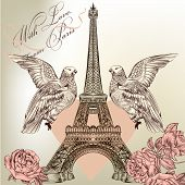 Vintage vector card with Eiffel tower for design poster