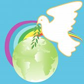 white dove with branch on background of the globe and rainbows poster