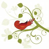 Bird sitting on funky branch foliage behind poster