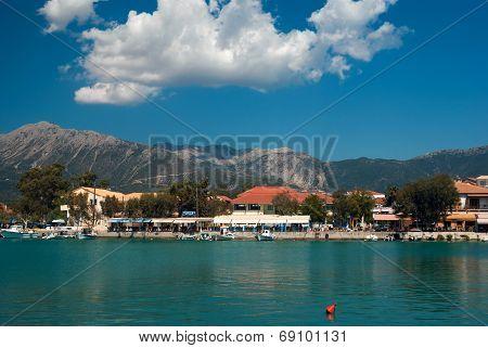 Traditional Village Basiliki On Lefkas Island, Greece