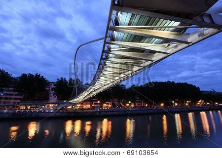 Pedestrian Bridge In Bilbao, Spain