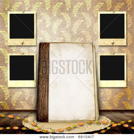 Vintage Background With Frames For Photo And Old Book.
