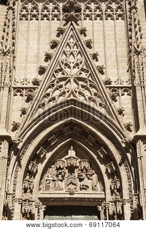 Tympanum In A Cathedral Of Seville Door