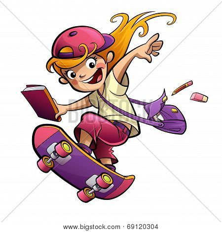 Cartoon Happy Smiling Student Girl With Skateboard Going To School