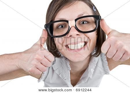 Shot of a Geeky Female with Double Thumbs Up poster