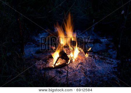 Evening campfire close up view (horizontal orientation)