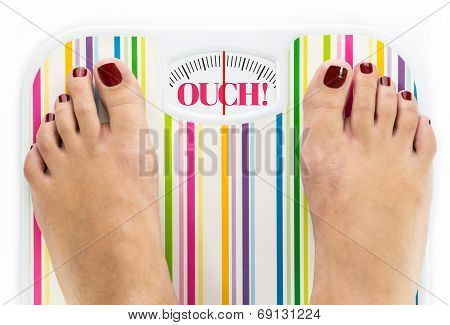 Feet On Bathroom Scale With Word