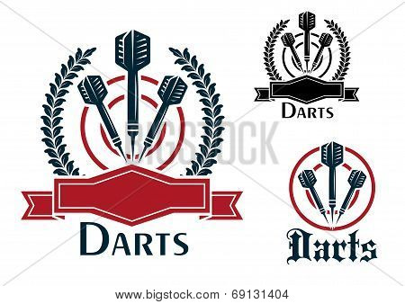 Three Darts sporting emblems or badges with darts on a dart board, two with laurel wreaths and blank ribbon banners and one plain all with text - Darts - below for sport and leisure design poster