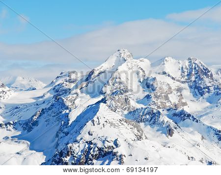Snow Mountains In Paradiski Skiing Domain