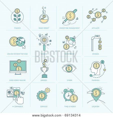 Set of flat line icons for finance