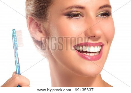 Closeup Of Smiling Woman With Perfect White Teeth