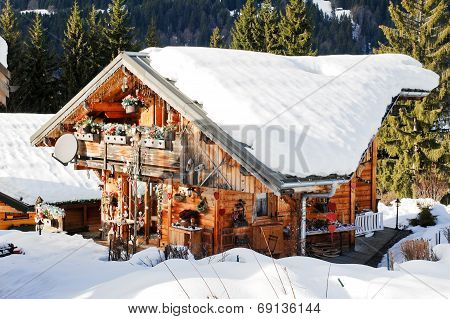 residential area in mountain skiing resort village Les Gets in Portes du Soleil region France poster