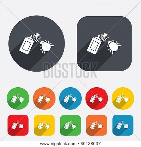 Bug disinfection sign icon. Fumigation symbol. Bug sprayer. Circles and rounded squares 12 buttons. Vector poster