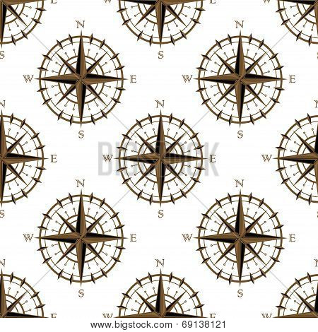 Seamless background pattern of a repeat motif of vintage navigation circular compass with star design or logo isolated on white background poster