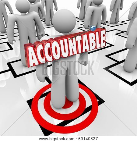 Accountable word in 3d letters pinned onto a worker standing on an org chart as placing the blame or making someone a scapegoat for a problem poster