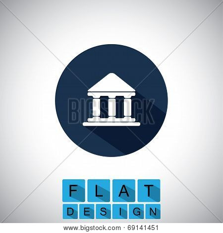 Flat Design Icon Of Bank Or Library Or Government Office - Vector Graphic