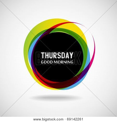 Good Morning  Thursday. Abstract background. Vector. Day of the week poster