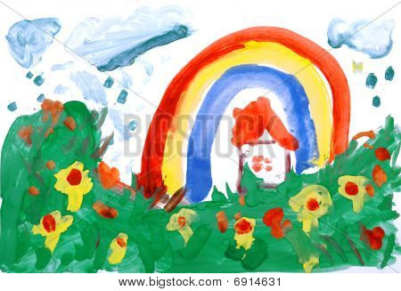 Drawing By Hand A Water Colour. House, Meadow, Rain, Rainbow.