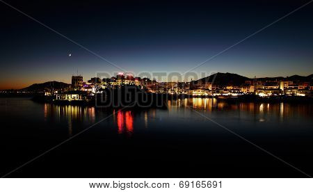Puerto Banus in Marbella, Spain at night.