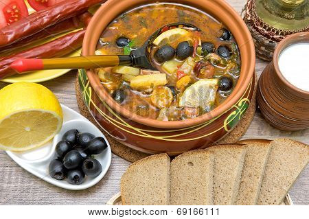 Russian Thistle Soup And Other Food On A Wooden Background