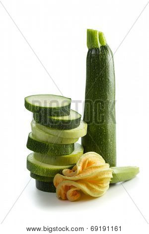 Fresh zucchini vegetable with blossom