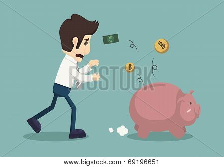 Businessman lose money eps 10 vector format poster