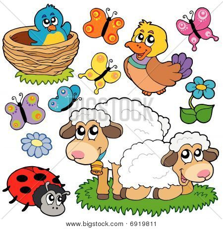 Various spring animals on white background - vector illustration. poster