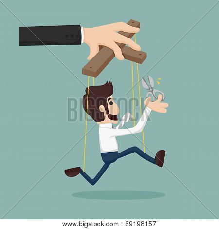 Cutting the strings of a business man puppet giving it freedom eps10 vector format poster