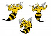 Angry yellow and black cartoon wasp or hornets with a sting shaking his fist and baring his teeth, cartoon illustration on white poster