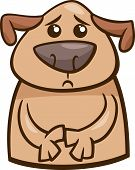 Cartoon Illustration of Funny Dog Expressing Sad Mood or Emotion poster