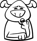 Black and White Cartoon Illustration of Funny Dog Expressing Sleepy Mood or Emotion for Coloring Book poster